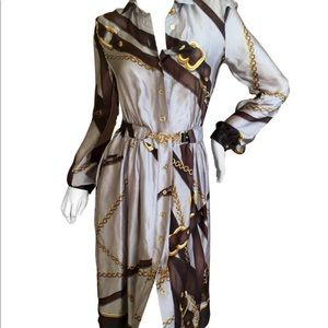 Gucci Classic Silk Scarf Equestrian Shirt Dress.